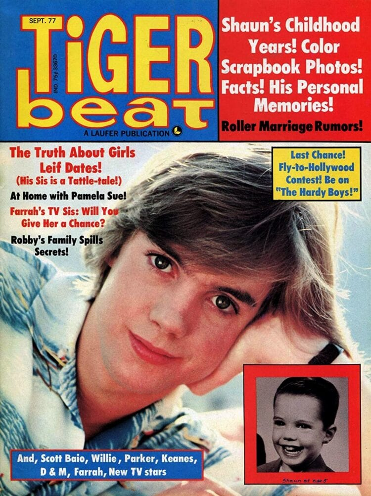 Tiger Beat magazine cover - September 1977 - Shaun Cassidy