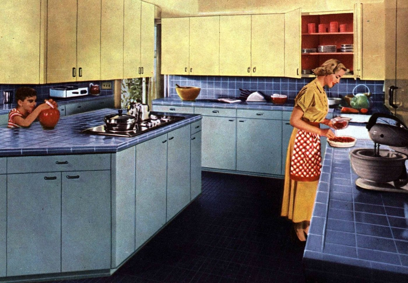 Tile Council Of America 1958 blue kitchen
