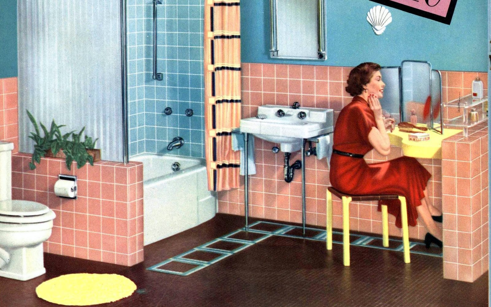 Tile Council Of America 1958 model pink and blue bathroom