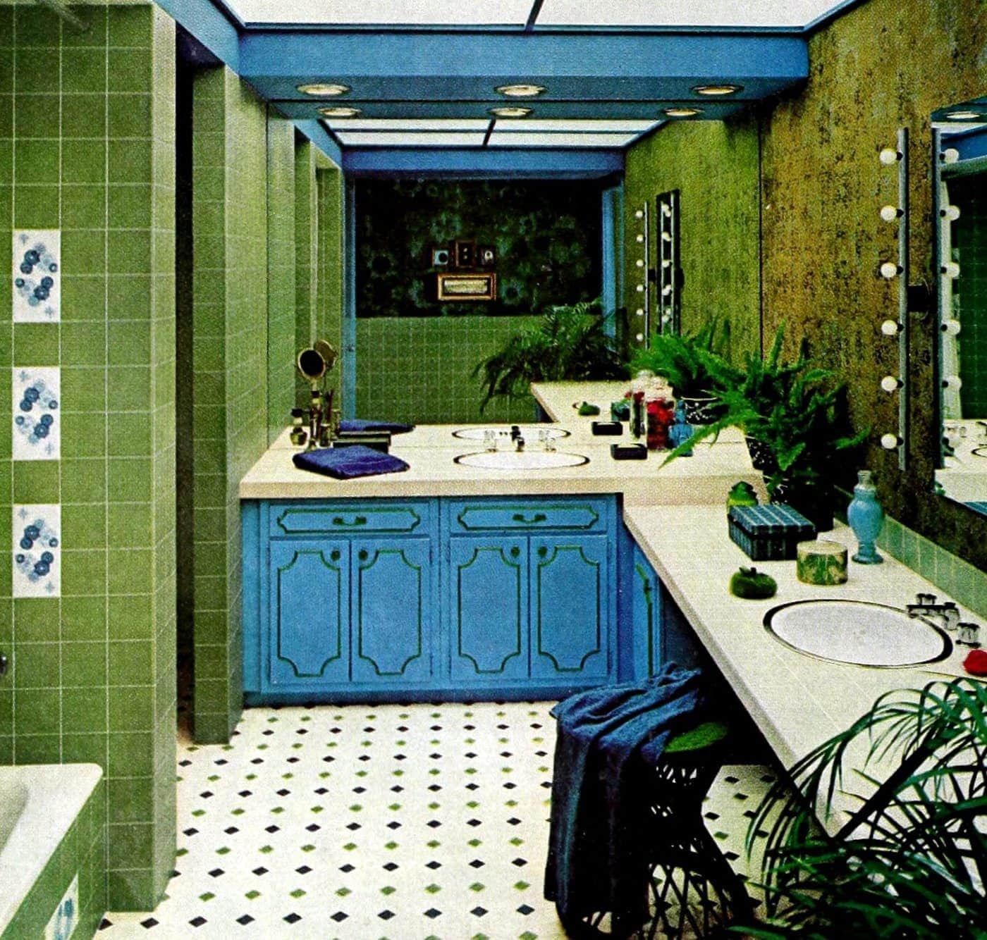 Tiled bathroom in white green and blue (1967)