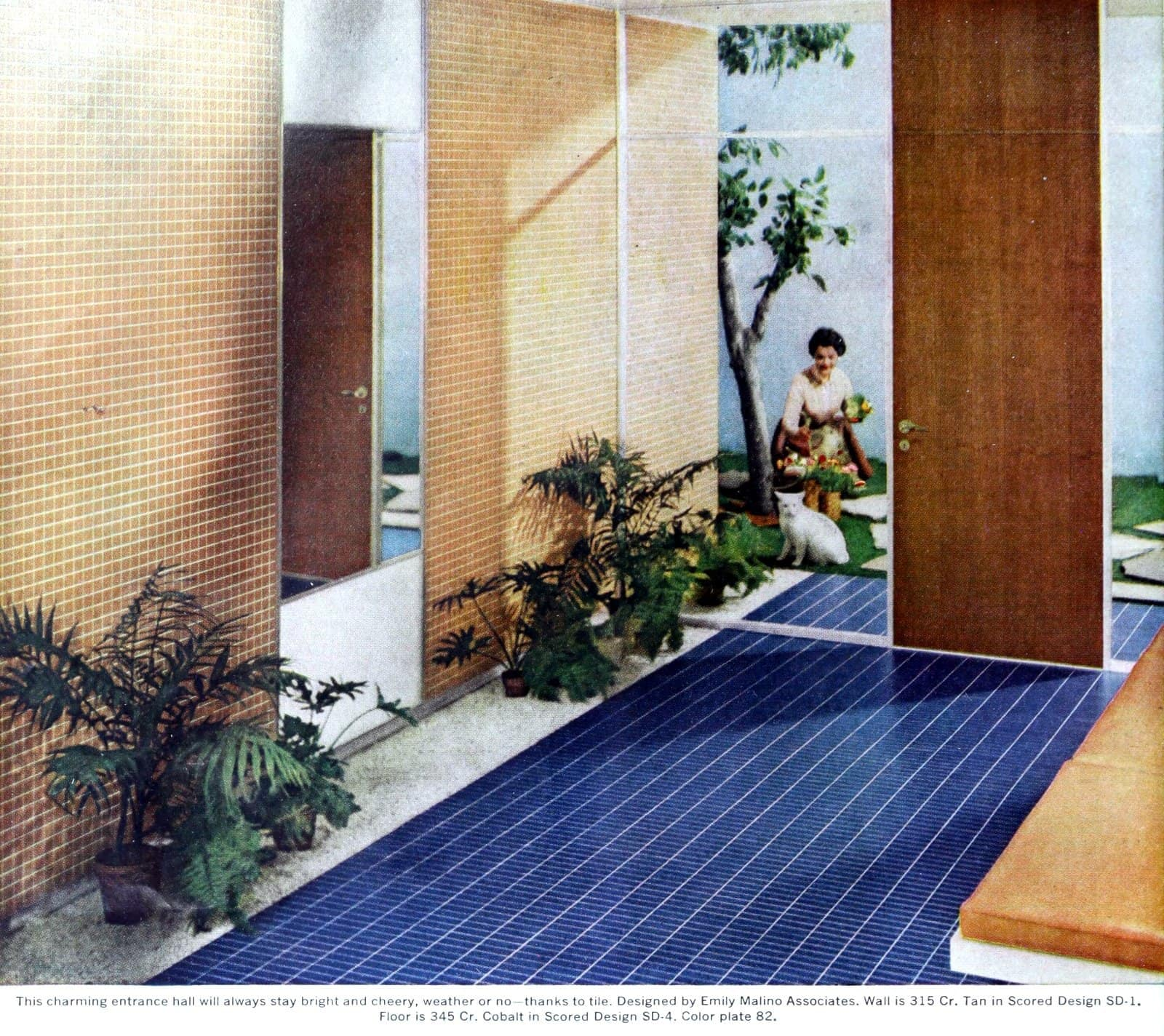 Tiled mid-century entrance hall with royal blue flooring