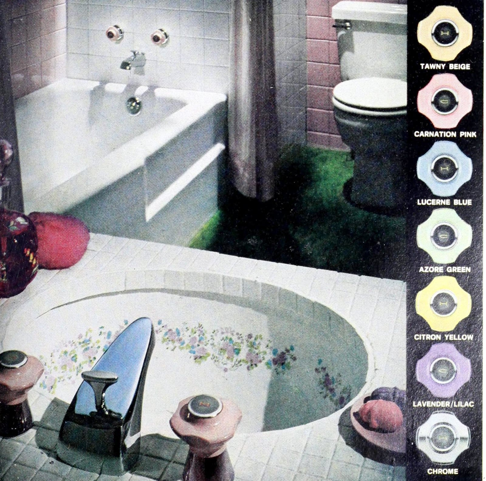 Tiled vintage bathroom with matching sink and faucet handles (1966)