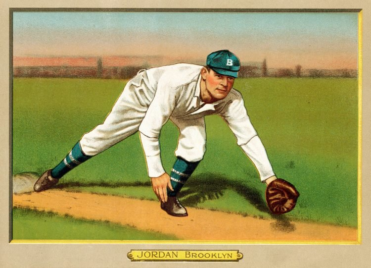 Tim Jordan, Brooklyn Superbas, baseball card portrait