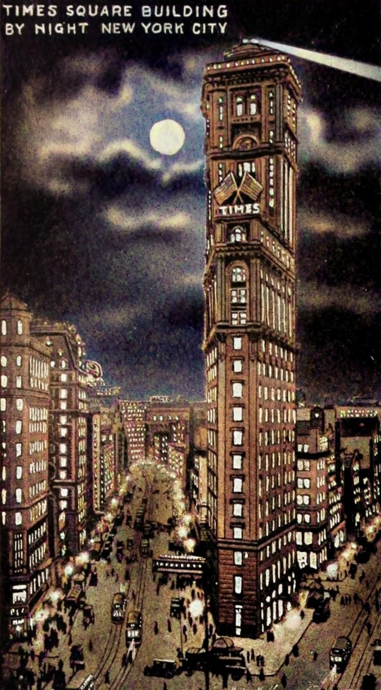 Times Square Building by night - Colorized (1920s)