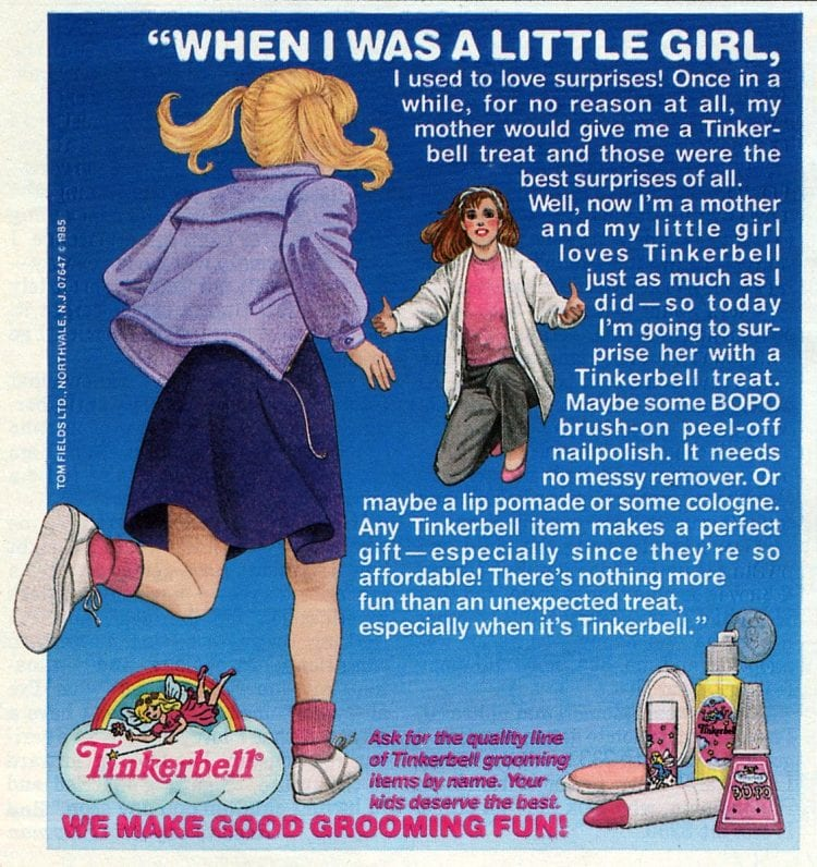 Tinkerbell vintage grooming for girls from 1985