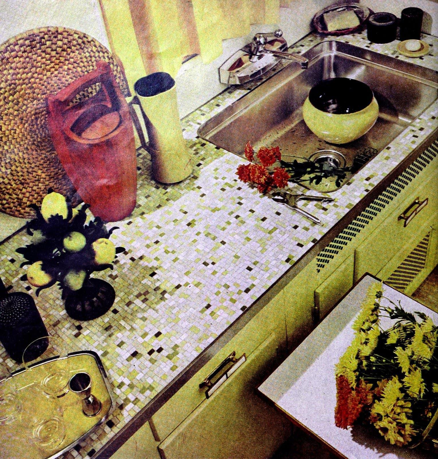 Tiny ceramic tile random mosaic pattern idea for a kitchen (1960)