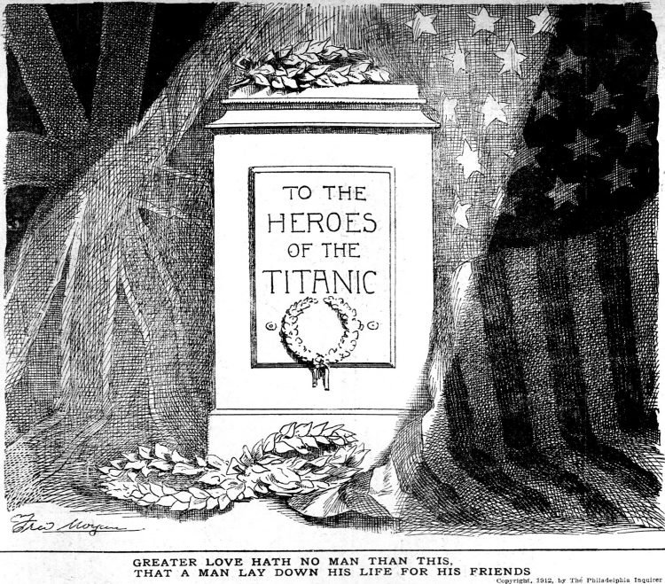 Titanic cartoon Philadelphia Inquirer Sat Apr 20 1912