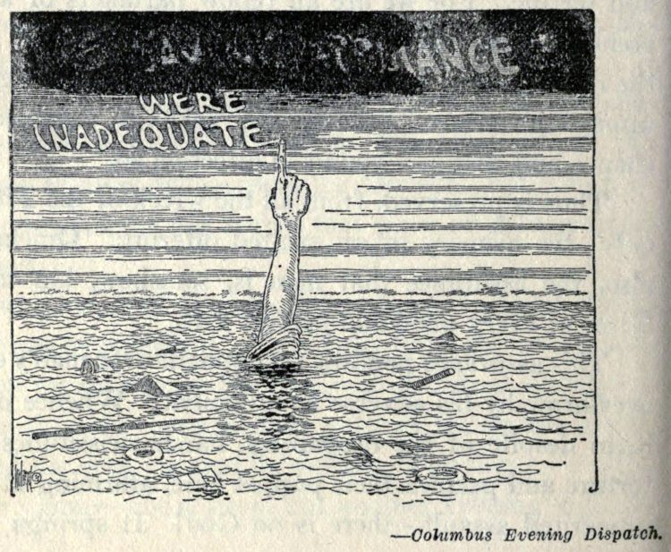 Titanic disaster editorial cartoon 1912 (1)