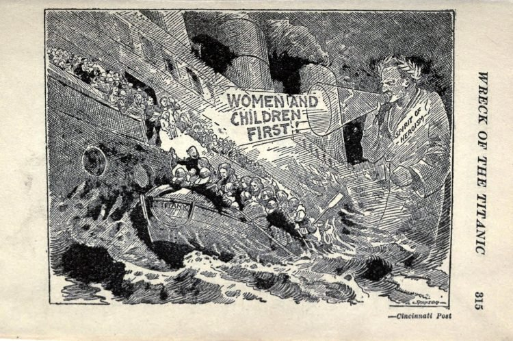Titanic disaster editorial cartoon 1912 (2)