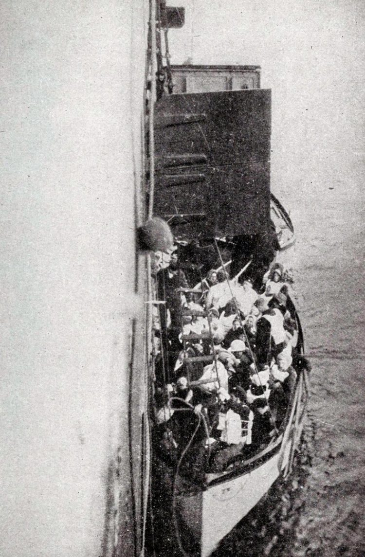 Titanic lifeboat with survivors about to be brought aboard the rescue ship Carpathia