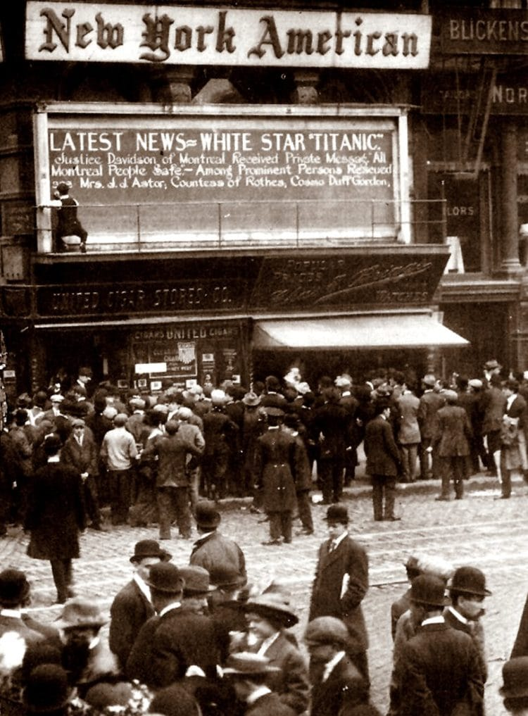 Titanic news from the New York American newspaper - 1,492 go down to their death in loss of the Titanic (1912)