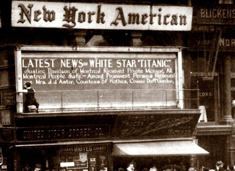 Titanic news from the New York American newspaper -1913
