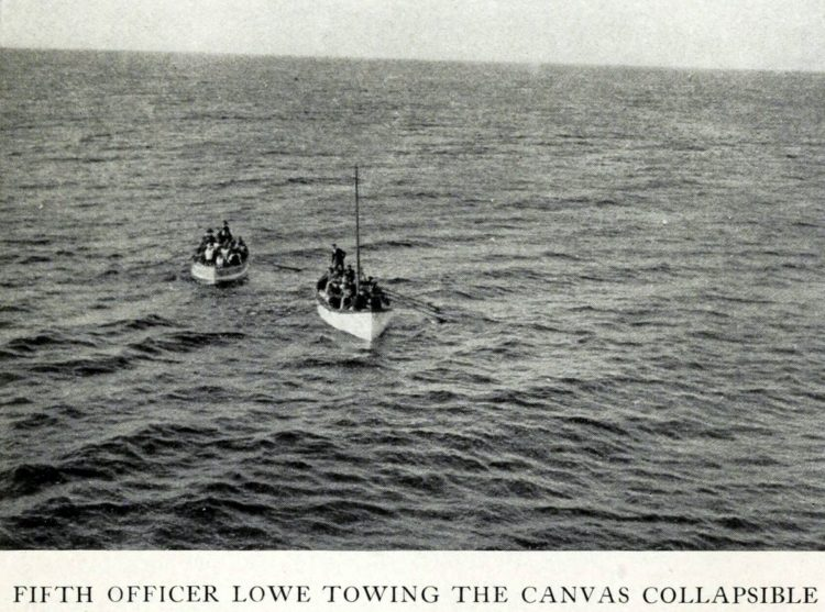 Titanic rescue - Fifth Officer Lowe towing the canvas collapsible lifeboat