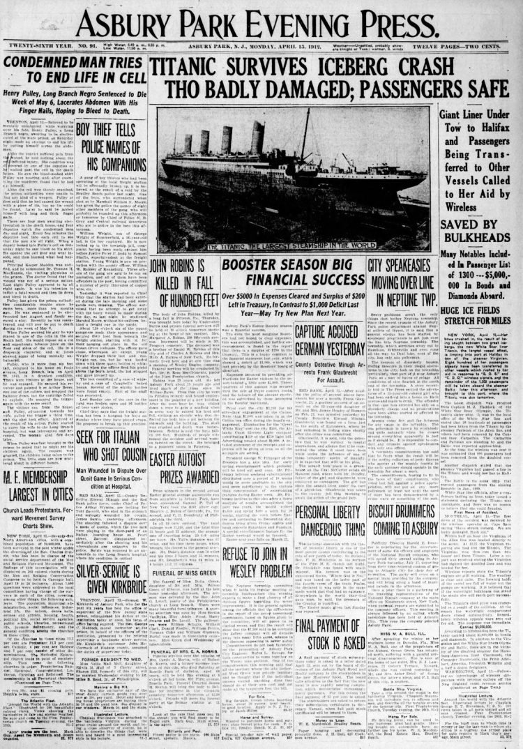 Titanic sinking headlines - Asbury Park Press Mon Apr 15 1912
