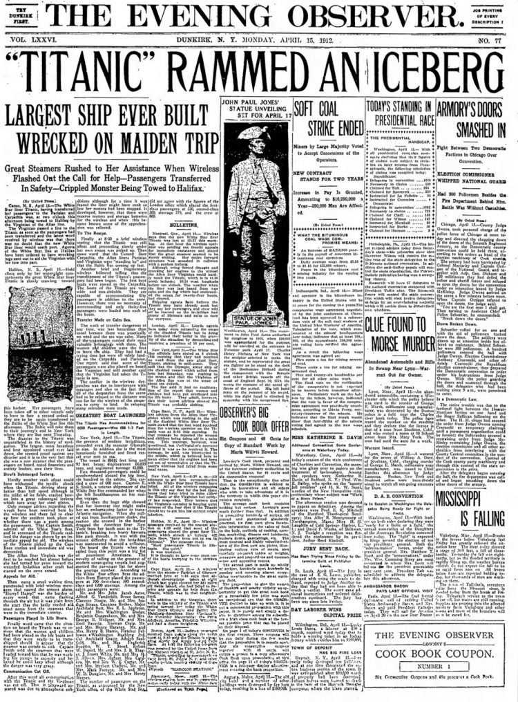 Titanic sinking headlines - Dunkirk Evening Observer Mon Apr 15 1912