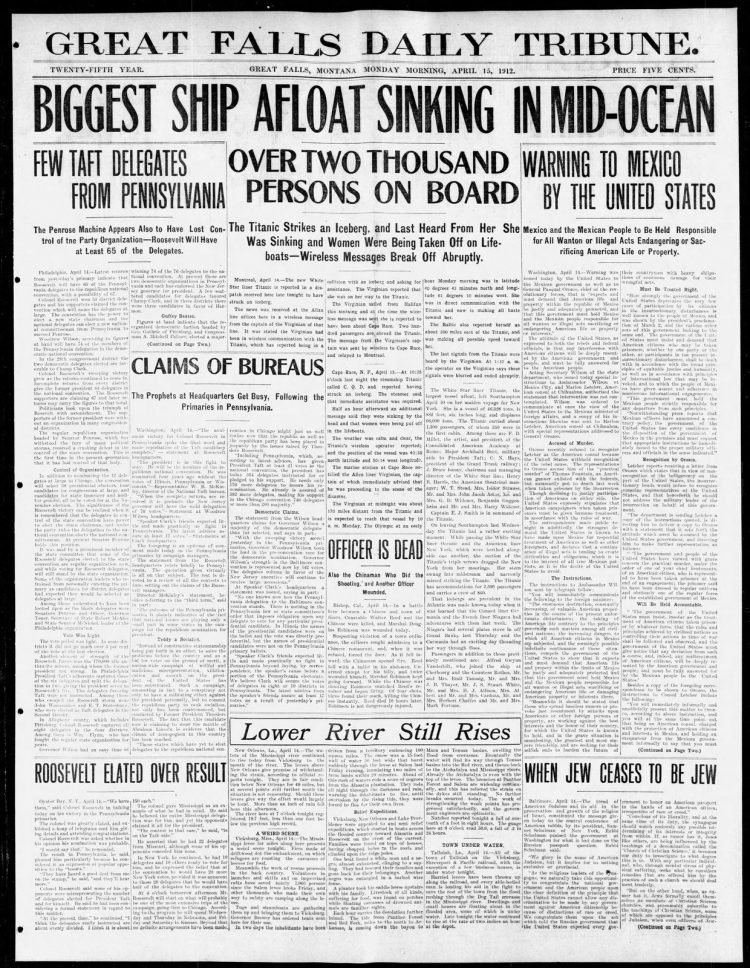 Titanic sinking headlines - Great Falls Tribune Mon Apr 15 1912