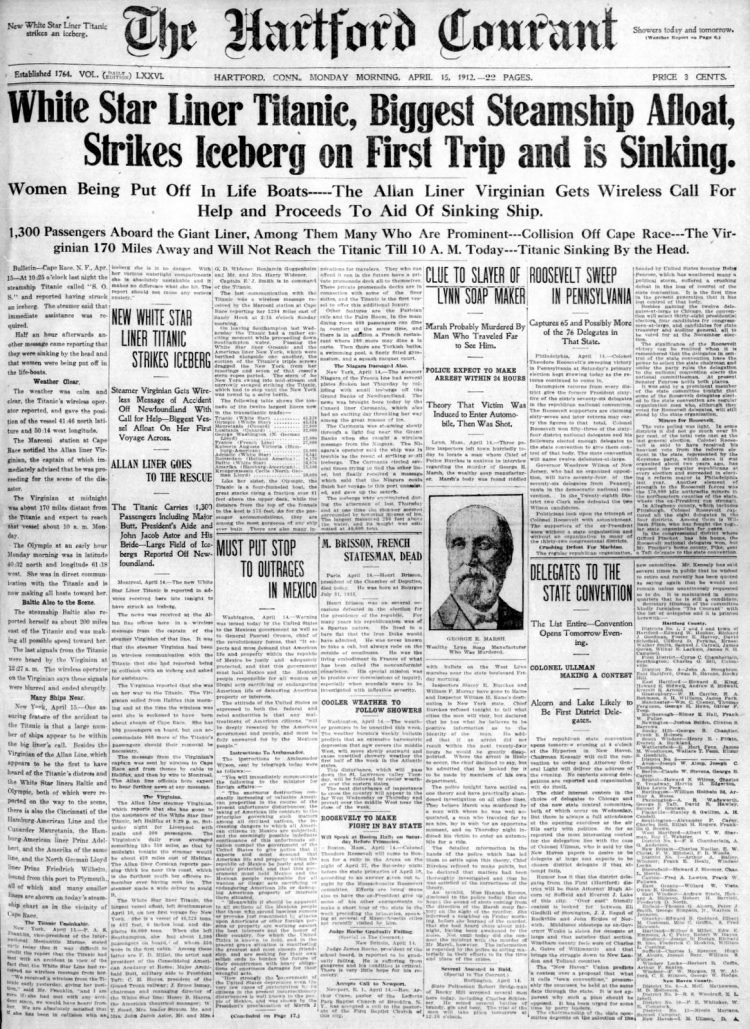 Titanic sinking headlines - Hartford Courant Mon Apr 15 1912