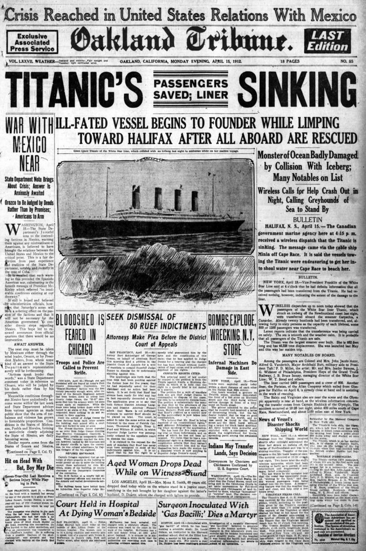 Titanic sinking headlines - Oakland Tribune Mon Apr 15 1912