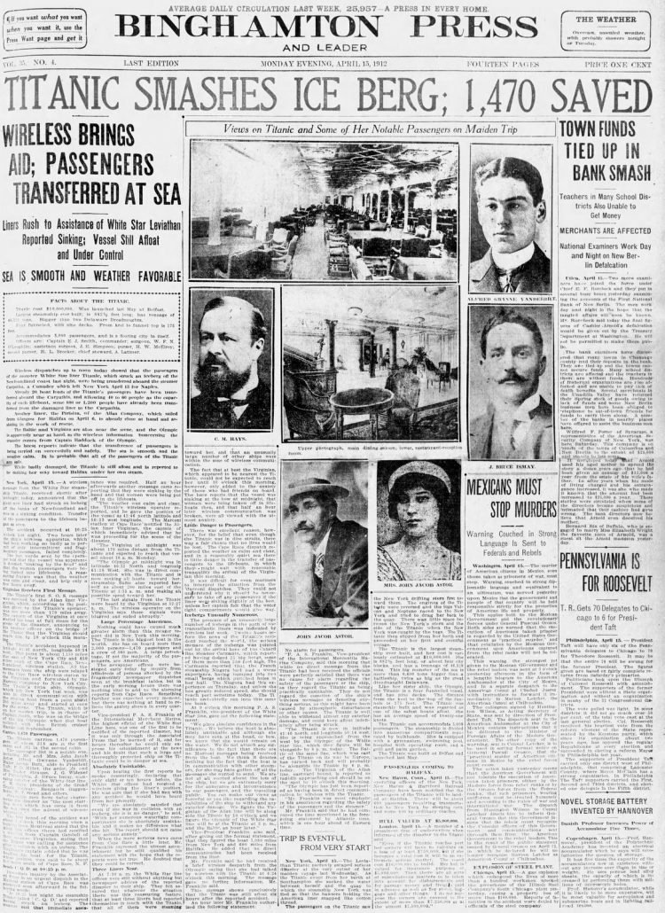 Titanic sinking headlines - Press and Sun Bulletin Mon Apr 15 1912 (1)