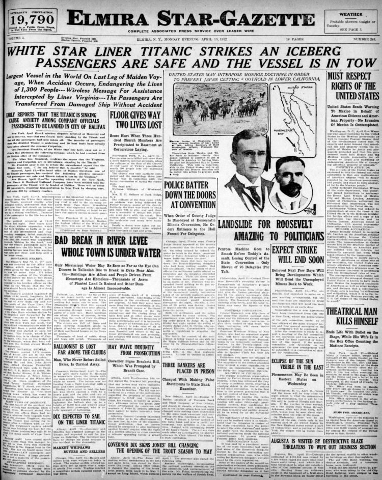 Titanic sinking headlines - Star Gazette Mon Apr 15 1912