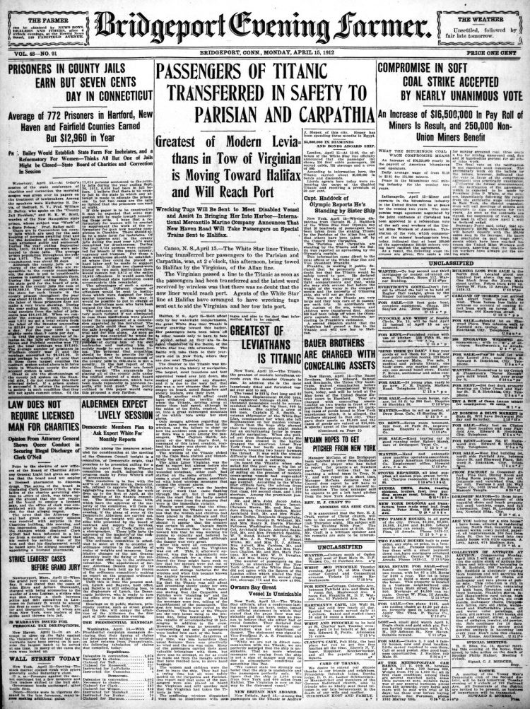Titanic sinking headlines - The Bridgeport Times and Evening Farmer Mon Apr 15 1912