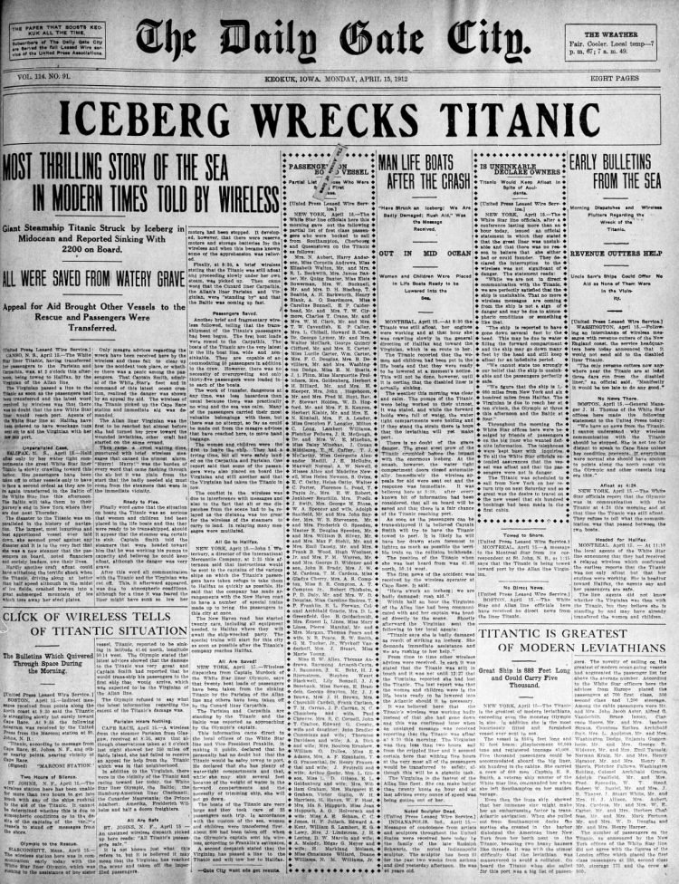 Titanic sinking headlines - The Daily Gate City Mon Apr 15 1912