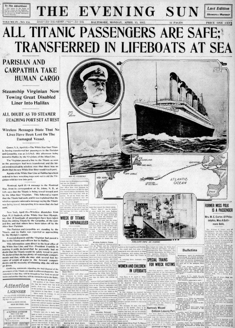 Titanic sinking headlines - The Evening Sun Mon Apr 15 1912