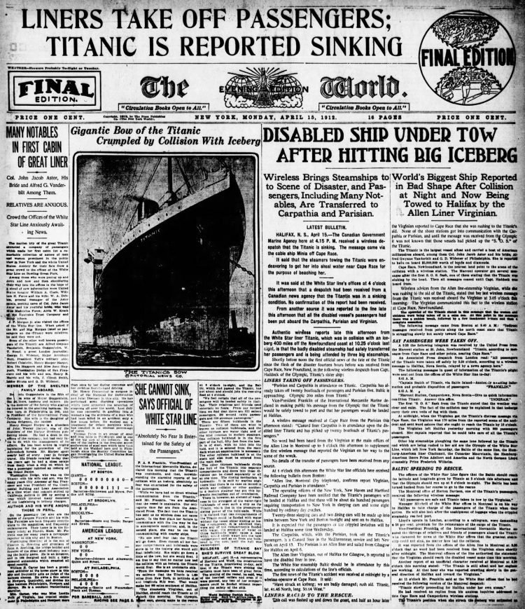 Titanic sinking headlines - The Evening World Mon Apr 15 1912
