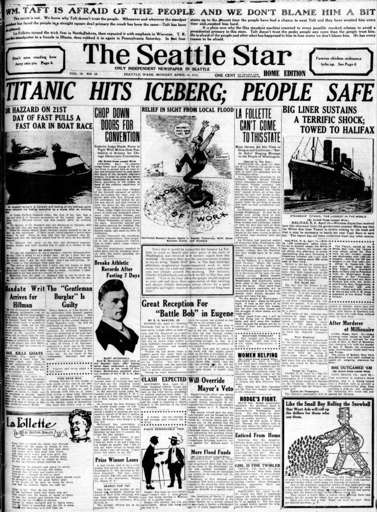 Titanic sinking headlines - The Seattle Star Mon Apr 15 1912