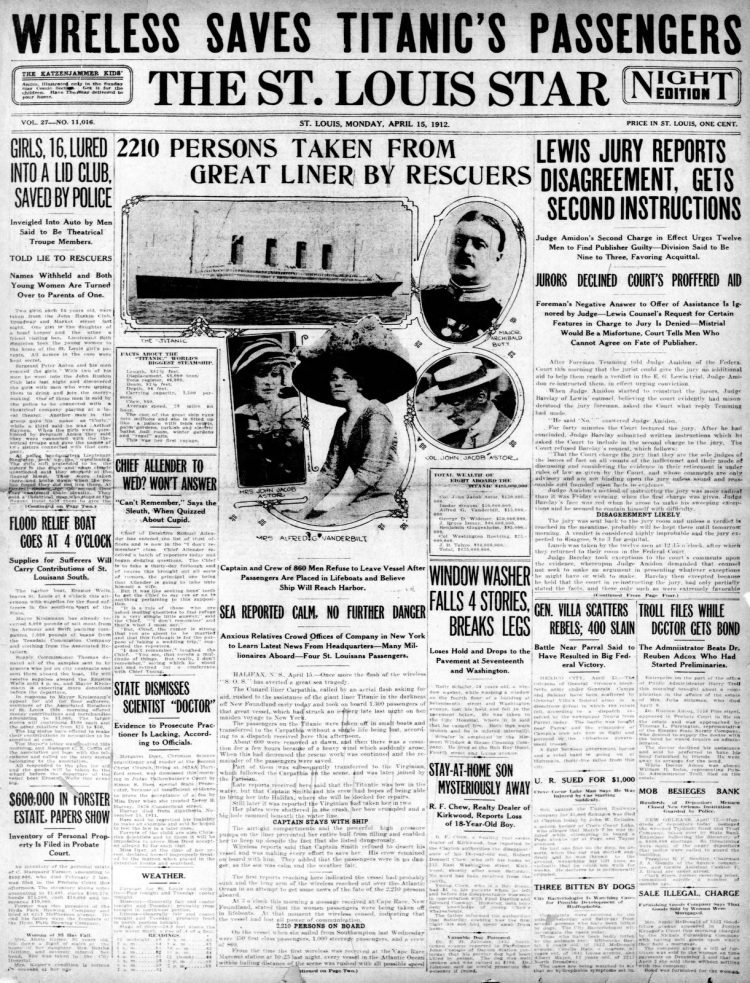 Titanic sinking headlines - The St Louis Star and Times Mon Apr 15 1912
