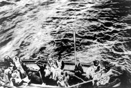 Titanic survivors in a lifeboat, about to board rescue ship Carpathia