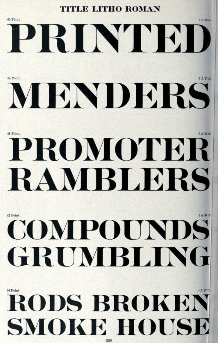 Title Litho Roman typeface - Vintage font styles