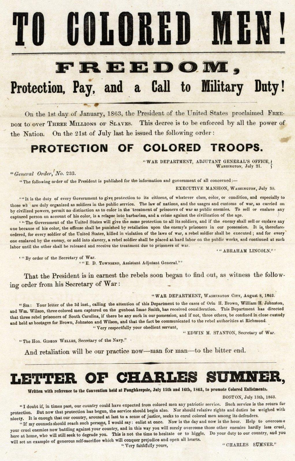 To Colored Men Broadside Civil War recruitment poster
