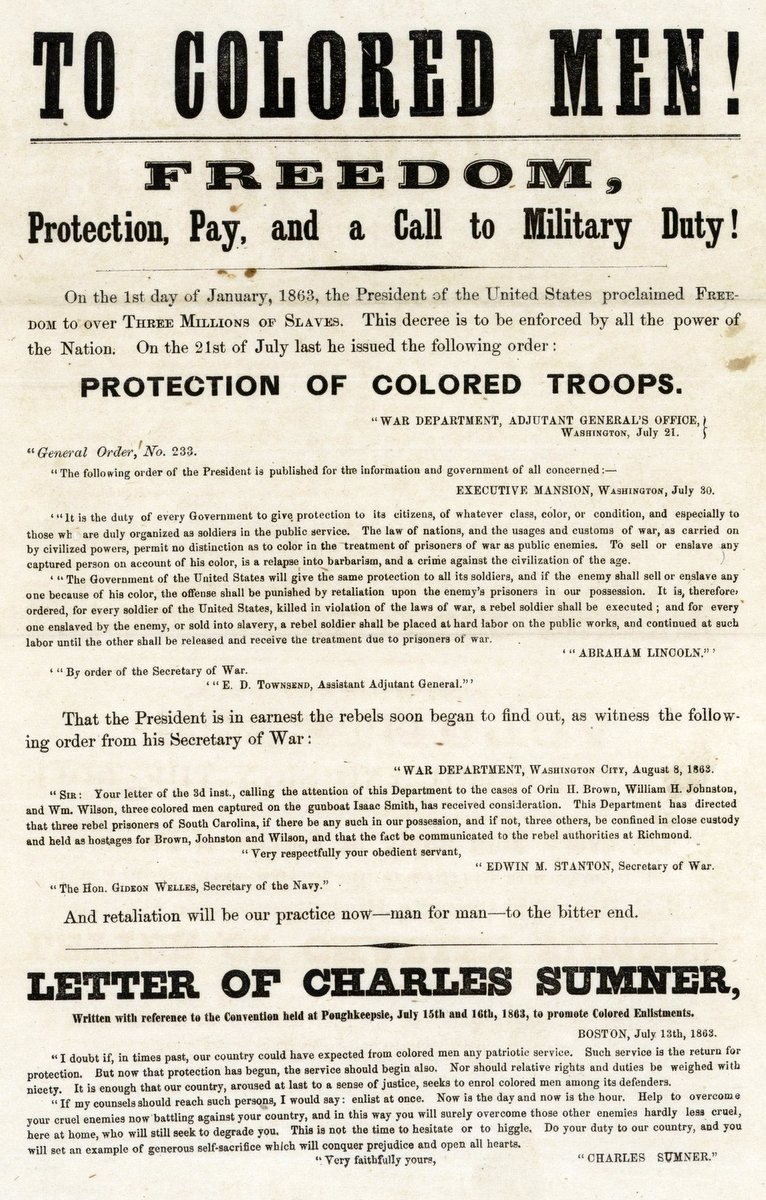 To Colored Men Broadside Civil War recruitment poster