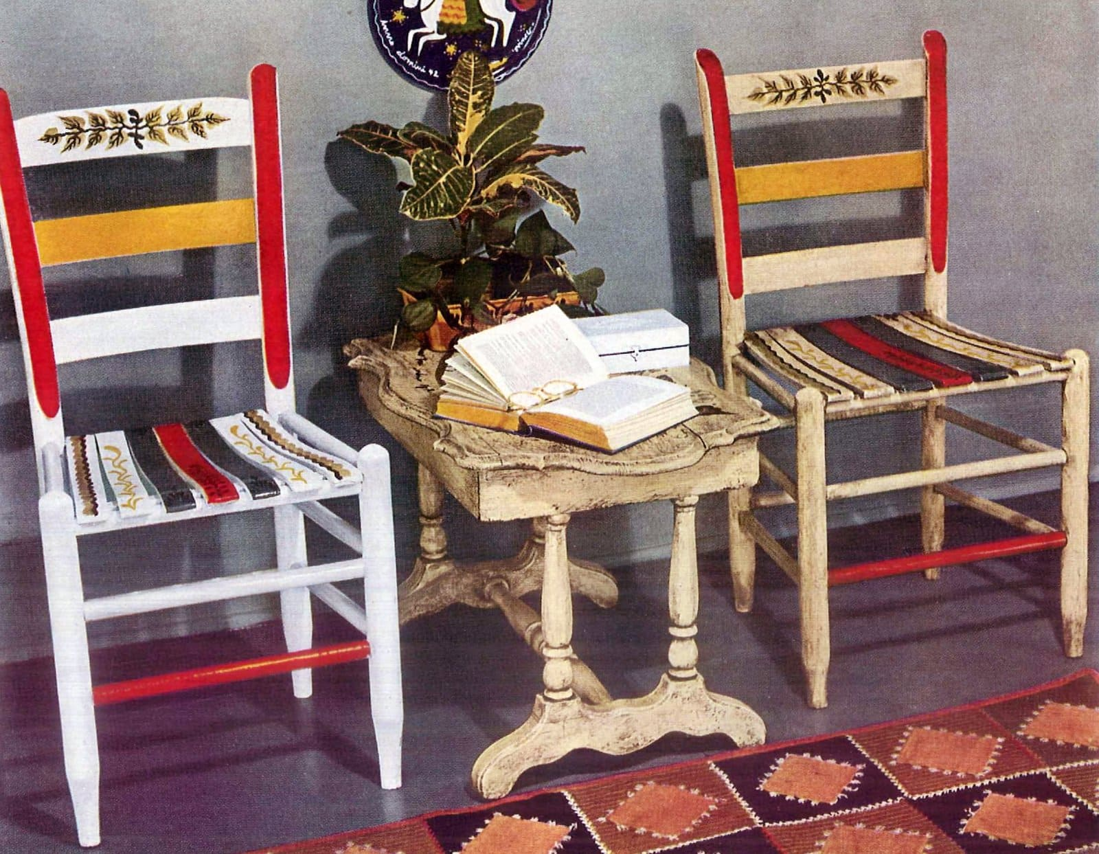 To help you decide Two chairs, one with an antiqued finish