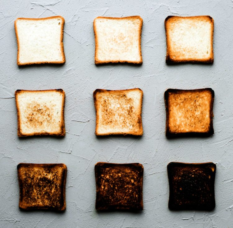 Toast slices - from bread to blackened