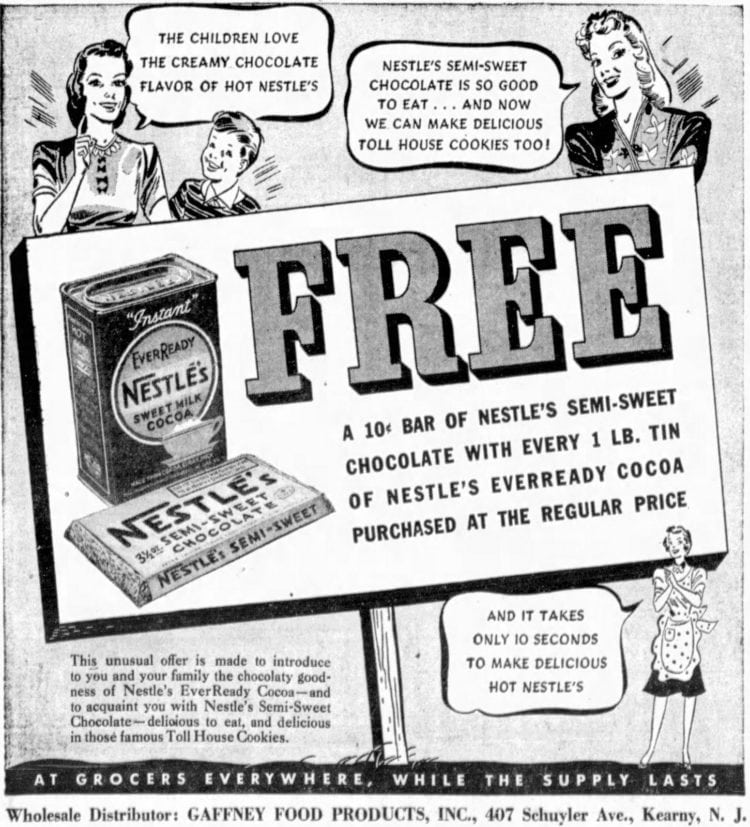 The original Toll House Cookie recipe (1939)