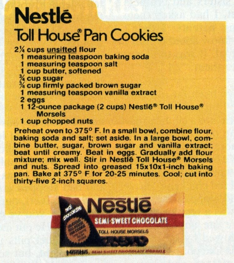 Toll House pan cookies recipe: Classic chocolate chip cookie bars from 1982