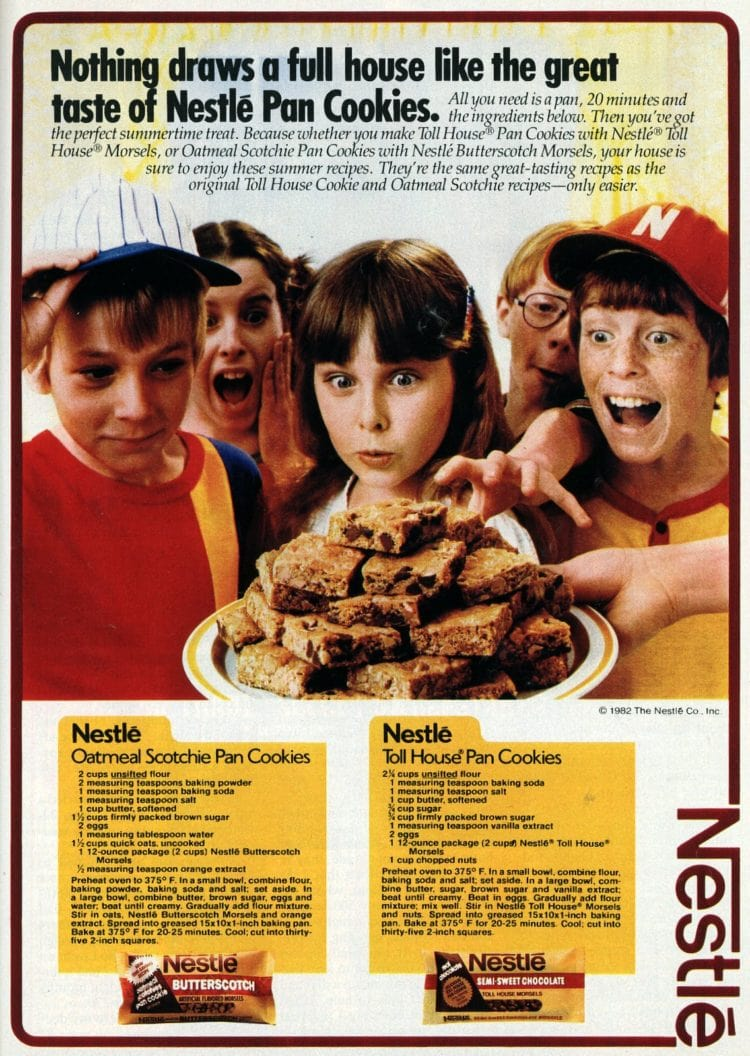 Toll House pan cookies & Oatmeal Scotchie bar cookies recipes (1982)