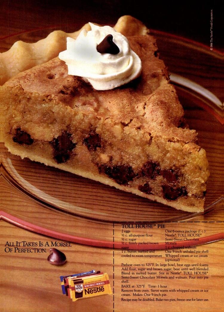 Toll house pie vintage dessert recipe 1986