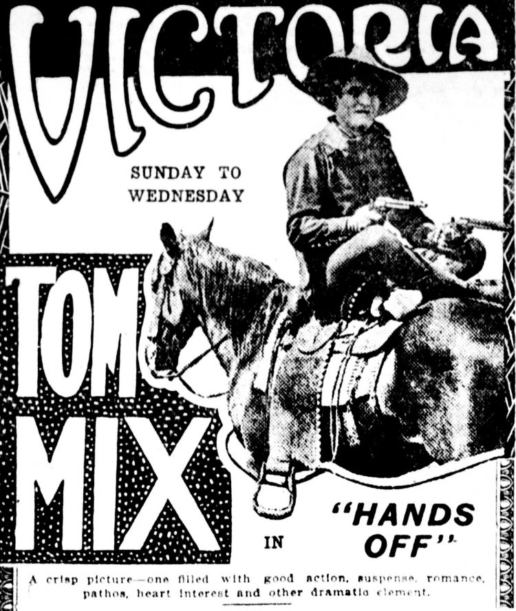 Tom Mix - Film history - Hands Off silent movie - 1921