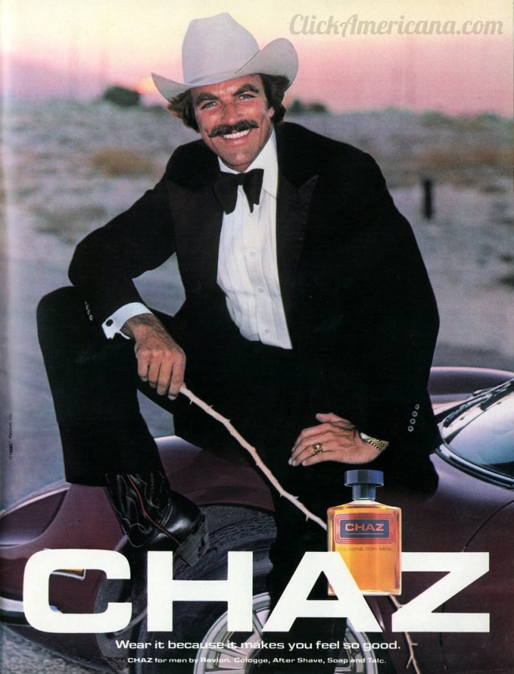 Tom Selleck for Chaz cologne - Vintage ad from 1980