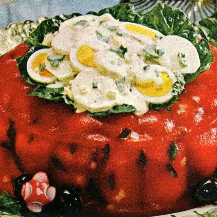Tomato aspic with potato salad 60s summer luncheon dish (1)