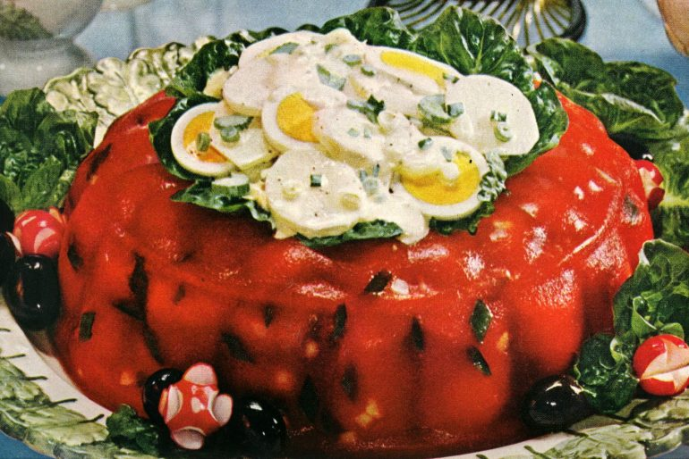 Tomato aspic with potato salad 60s summer luncheon dish (1)
