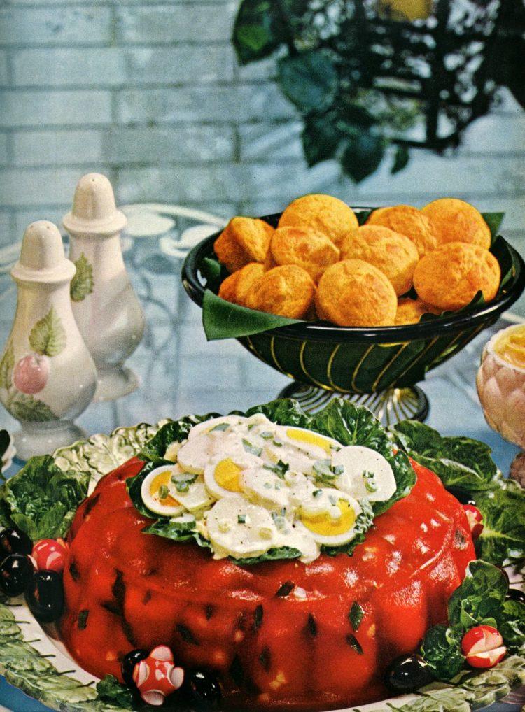 Tomato aspic with potato salad 60s summer luncheon dish (2)