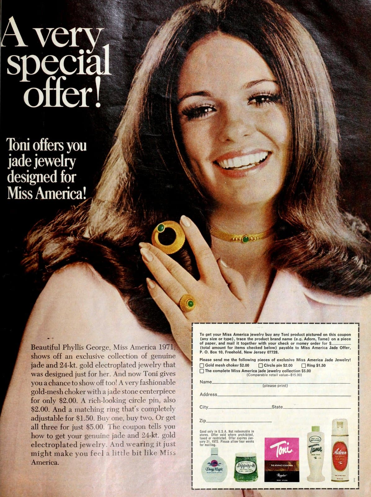 Toni offers you jade jewelry designed for Miss America (1971)