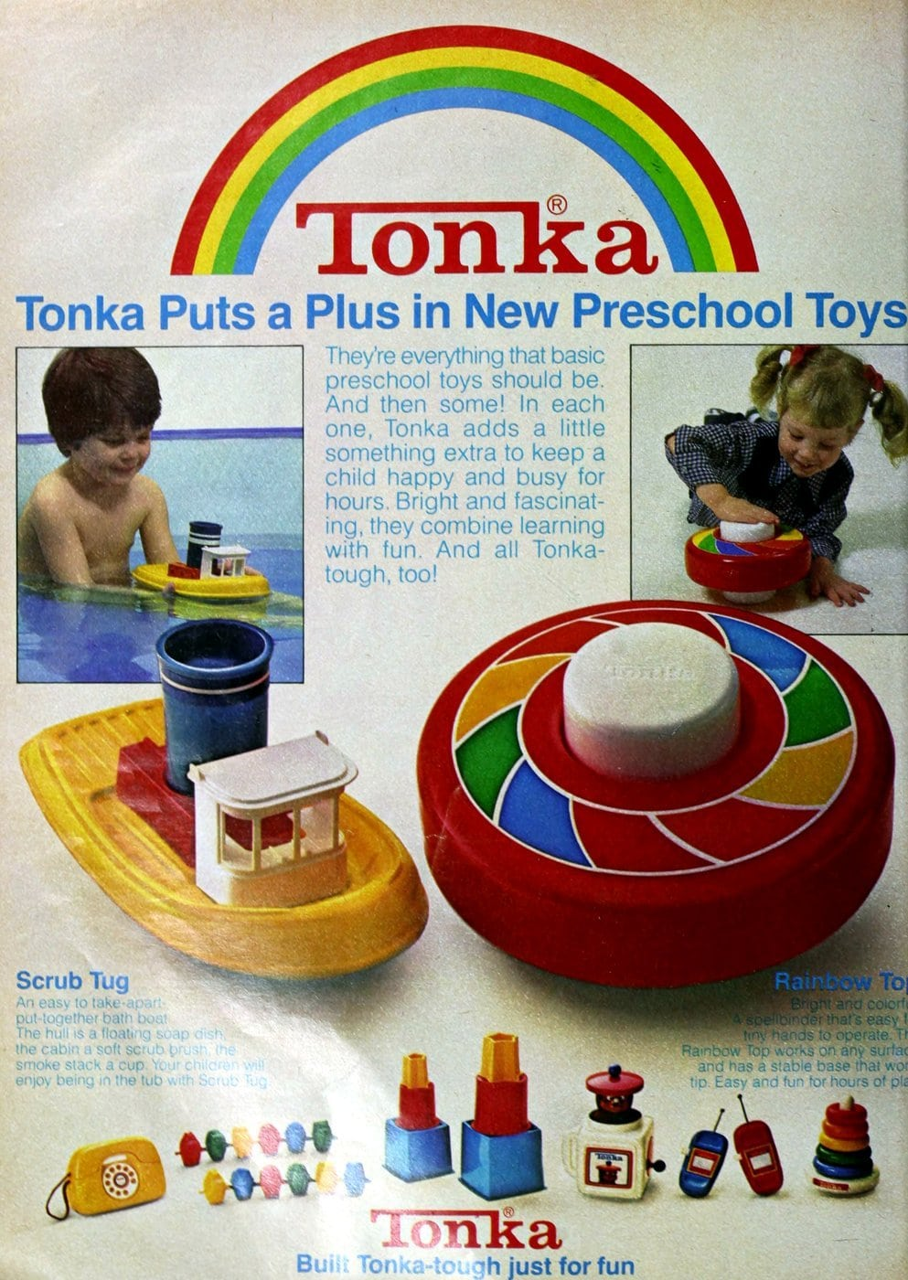 Tonka Scrub Tug and Rainbow Top preschool toys (1980)