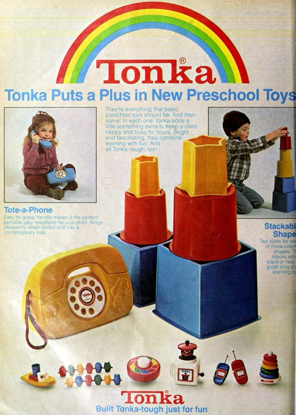 Tonka Tote-a-Phone and Stackable Shapes preschool toys (1980)
