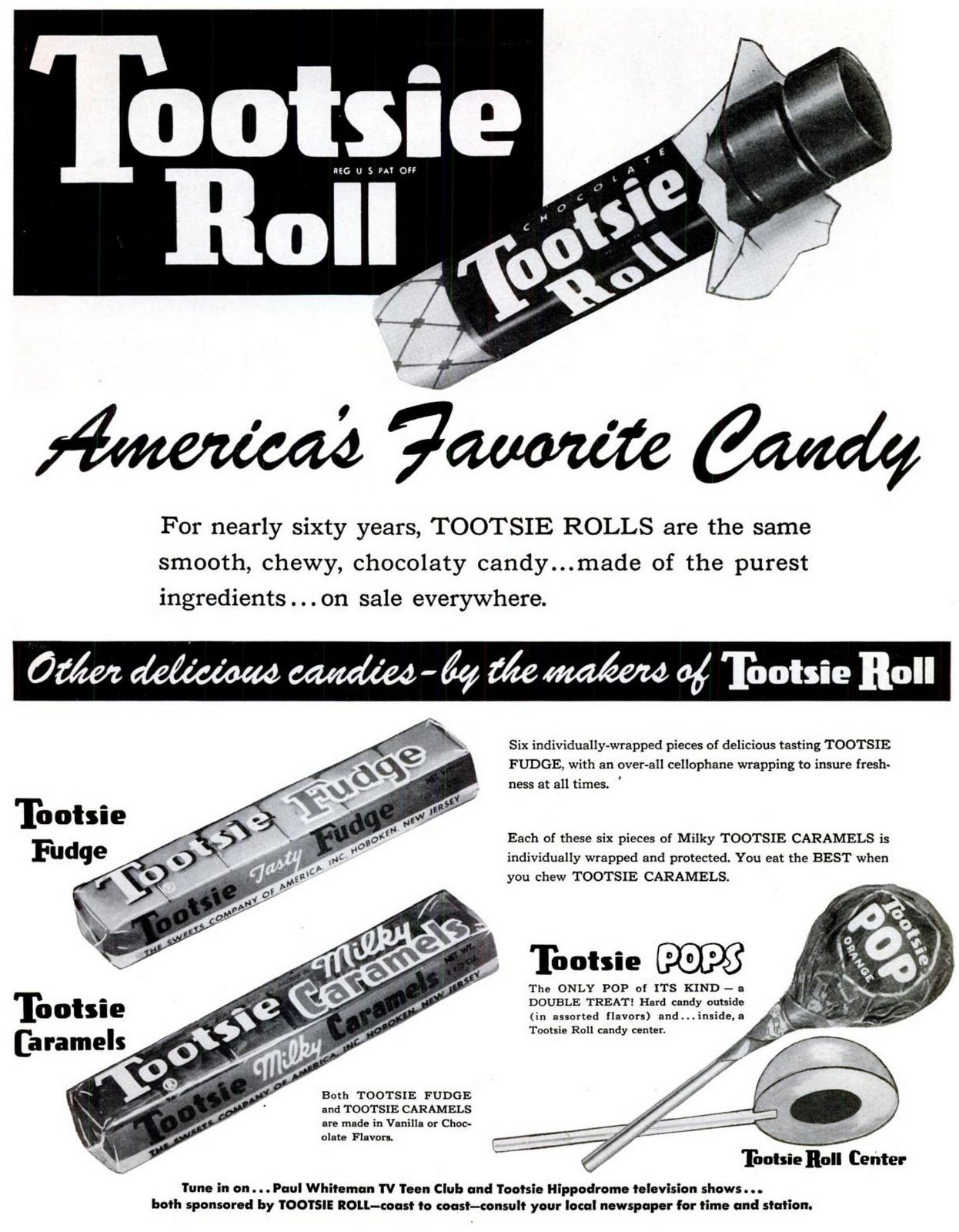 Tootsie Rolls and fudge, caramels and pops (1953)