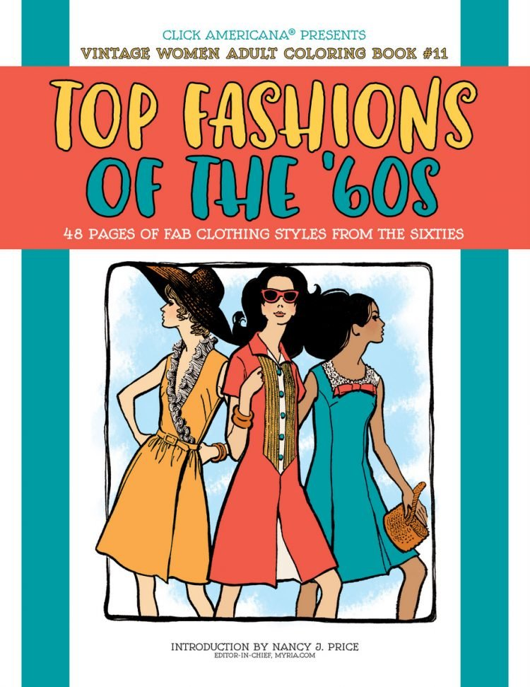 Top Fashions of the 60s retro coloring book cover